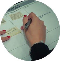 Mão escrevendo em um post-it